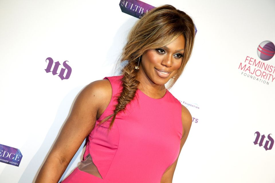 Laverne Cox arrives at the at 10th Annual Global Women's Rights Awards on Monday, May 18, 2015, in West Hollywood, Calif. (Ph