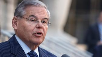 NEWARK, NJ - APRIL 02:  U.S. Sen. Robert Menendez (D-NJ) speaks outside the federal court after he was indicted on corruption charges on April 2, 2015 in Newark, New Jersey.  Sen. Menendez and Dr. Salomon Melgen are being indicted on corruption charges stemming from the senator being accused of accepting nearly $1 million in gifts and campaign contributions.  (Photo by Kena Betancur/Getty Images)