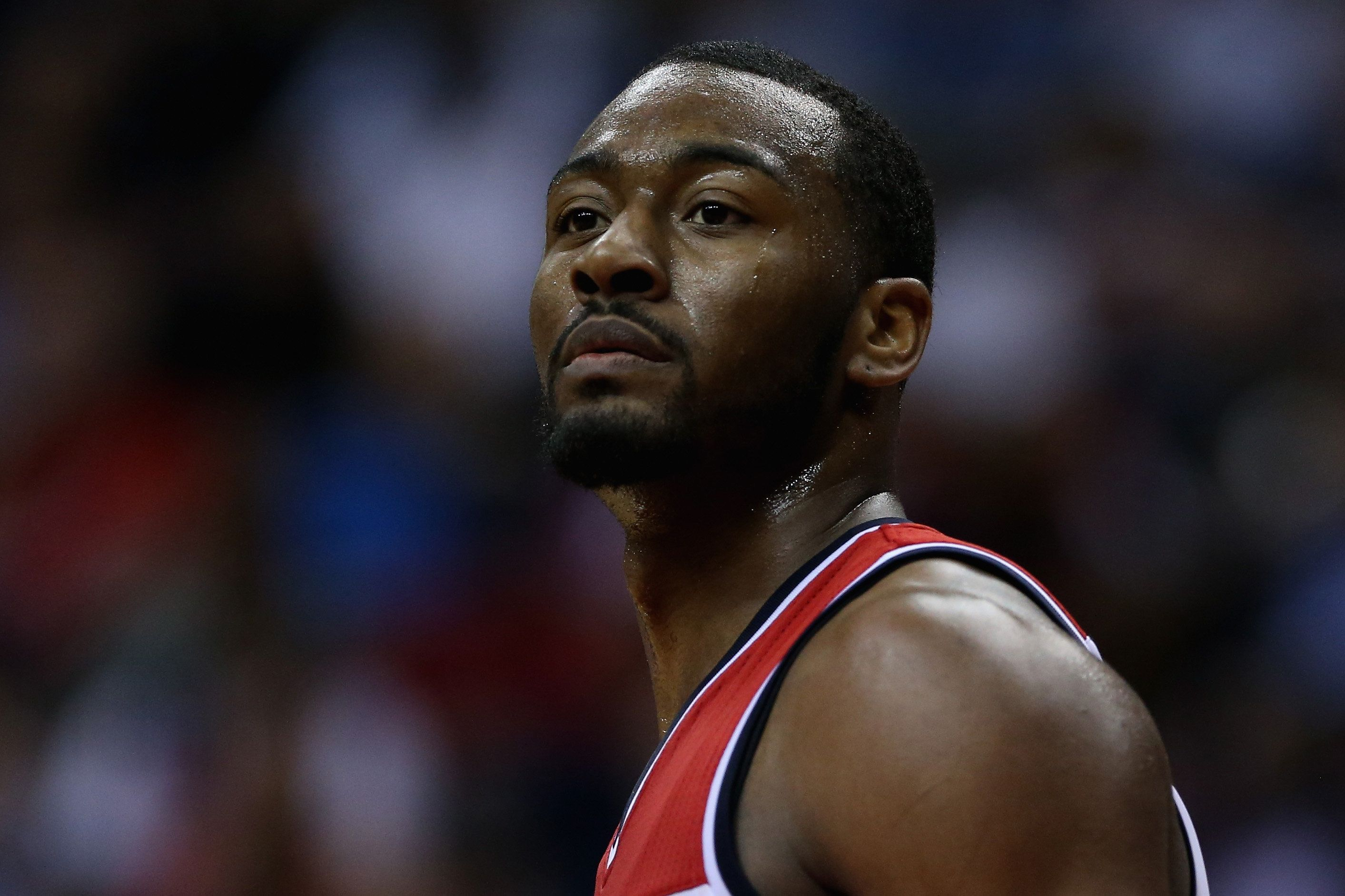 WASHINGTON, DC - MAY 15:  John Wall #2 of the Washington Wizards looks on during the second quarter against the Atlanta Hawks at Verizon Center on May 15, 2015 in Washington, DC.  (Photo by Maddie Meyer/Getty Images)