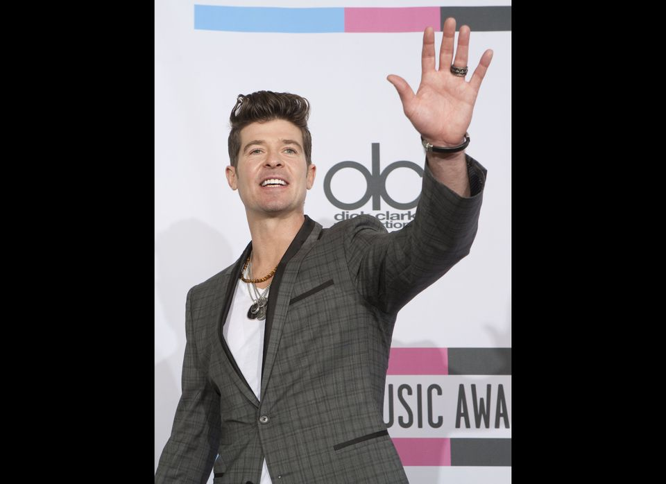 Robin Thicke poses in the press room during the 2011 American Music Awards at the Nokia Theatre L.A. Live on November 20, 201