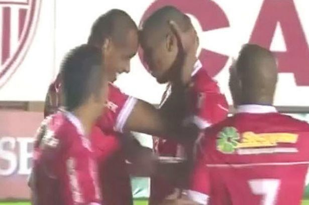 Rivaldo and his son embrace after each scored a goal in Mogi Mirim's 3-1 win over Macae.
