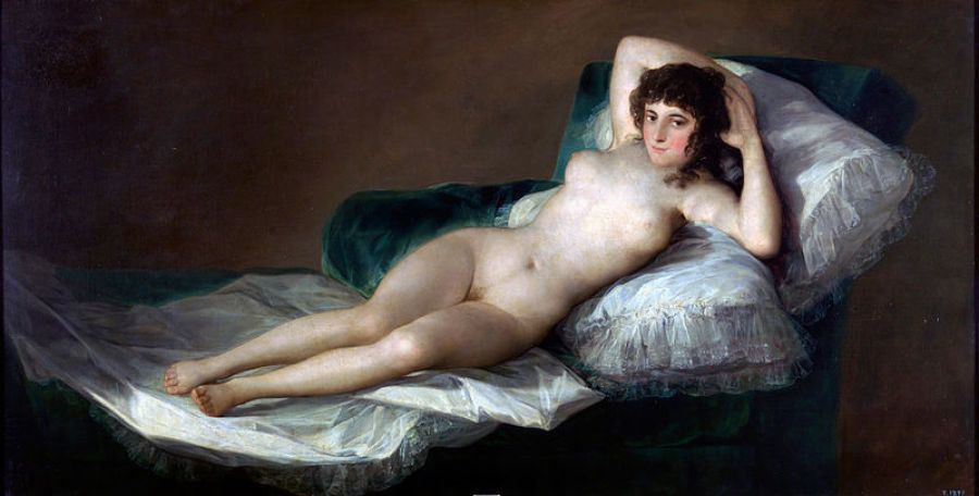 Painting reclining female nude