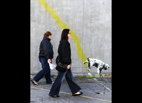 A graffiti attributed to secretive British artist Banksy shows a dog urinating on a wall in Beverly Hills, California on Febr
