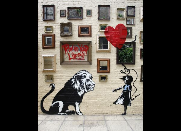 LONDON, UNITED KINGDOM - JUNE 14: New Banksy Mural at The Princess of Wales Pub in Primrose Hill on June 14, 2010 in London,