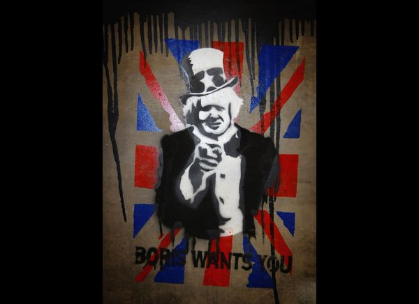 LONDON - MAY 7:  A stencil art piece depicting new London Mayor Boris Johnson is pictured at a giant new exhibition space cre