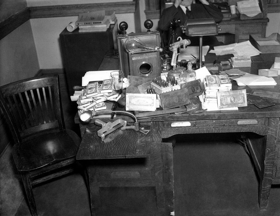 Equipment that was seized by Secret Service agents when three men were arrested in New York, Feb. 8, 1937. The seizure includ