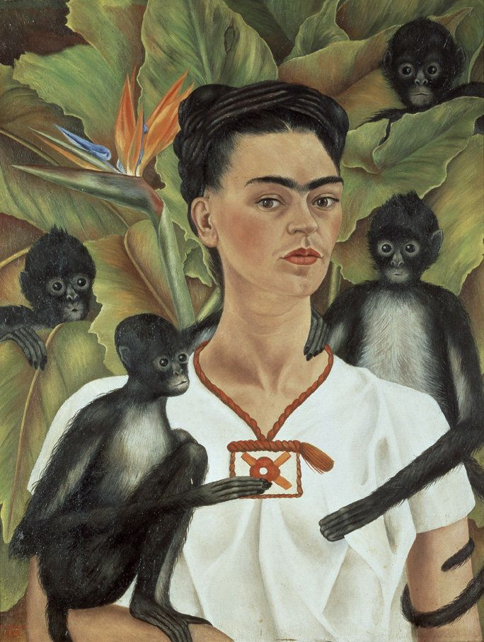 Frida Kahlo (Mexican, 1907–1954), Self‐Portrait with Monkeys, 1943, oil on canvas, Gelman Collection. © 2012 Banco de México