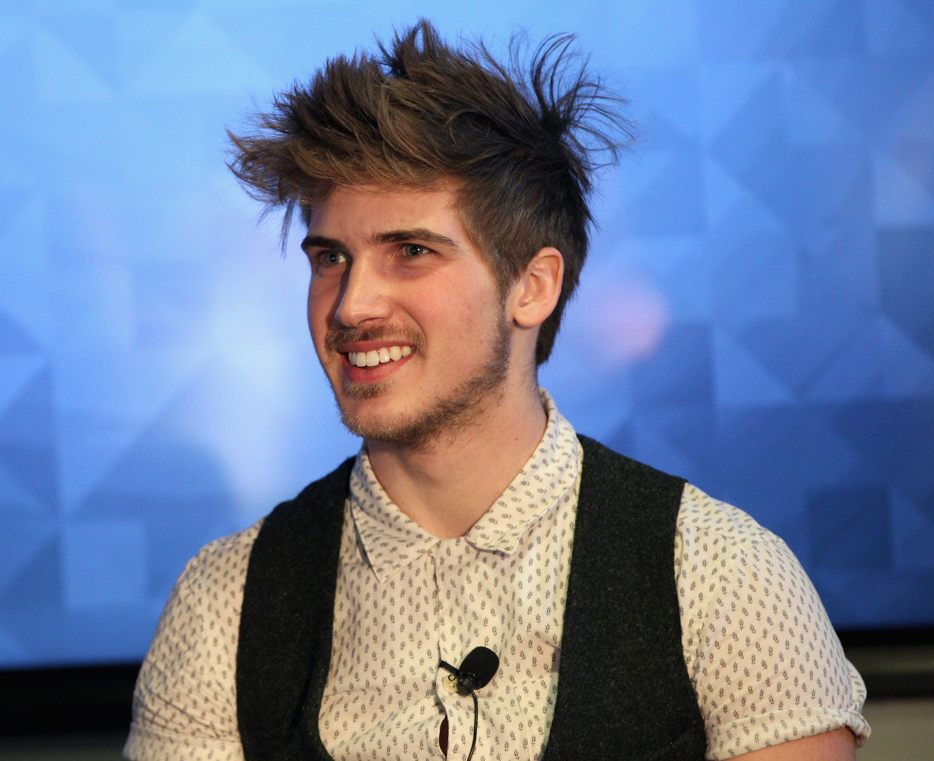 LOS ANGELES, CA - FEBRUARY 16:  YouTube personality Joey Graceffa speaks onstage during Vanity Fair Campaign Hollywood Social Club - 'YouTube All Stars:' Social Media Influencers Panel Discussion on February 16, 2015 in Los Angeles, California.  (Photo by Jonathan Leibson/Getty Images for Vanity Fair)