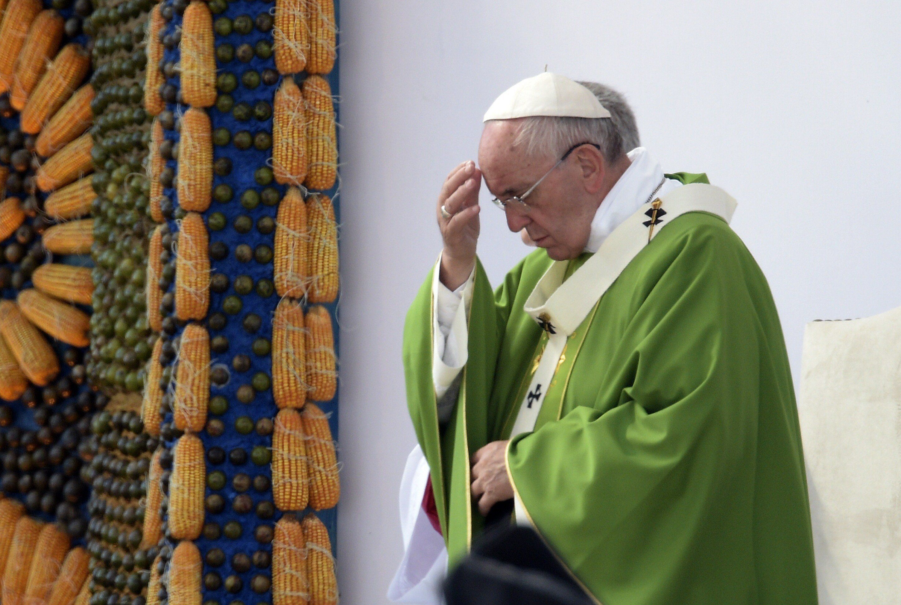 Pope Francis delivers a mass at Nu Guazu field in the outskirts of Asuncion, Paraguay on July 12, 2015. The Pope finishes Sunday his Latin American tour. AFP PHOTO / Juan Mabromata        (Photo credit should read JUAN MABROMATA/AFP/Getty Images)