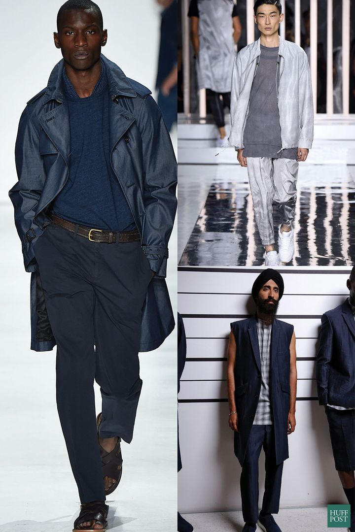 New York Fashion Week: Men's models present collections from Todd Snyder (left), Rochambeau (upper right) and Public School (lower right).