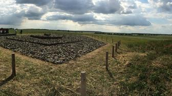 June 29, 2015 - Kysylyn, Ukraine - Panoramic view of memorial dedication ceremony in corn field in the town of Kysylyn. Mass grave contains the remains of 900 Jews killed by German occupiers between 1941-44. (Photo Credit: Michael Scaturro)