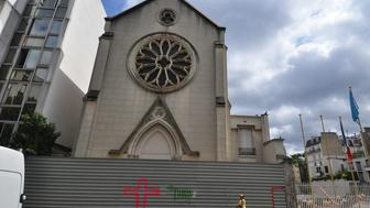 Saint Rita's Church in Paris was shut down recently and awaits demolition. The building on the left is an annex of UESCO. This photo was taken on July 14, 2015. Religion News Service photo by Tom Heneghan