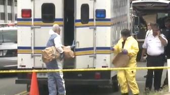 Authorities remove evidence in brown bags near where two human legs were found.