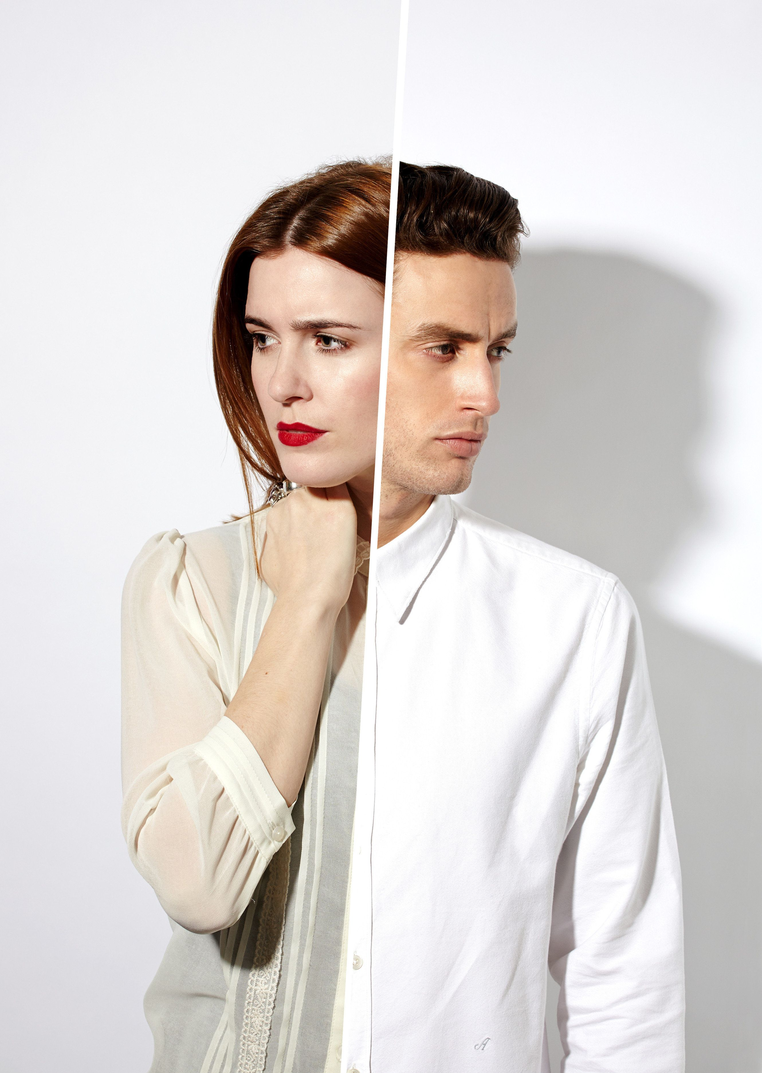 man and woman reflected in a mirror