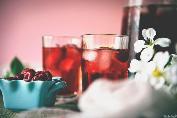 """Get the <a href=""""http://passthesushi.com/raspberry-sake-tea-cocktail/"""">Raspberry Sake Tea Cocktail recipe</a>from Pass"""