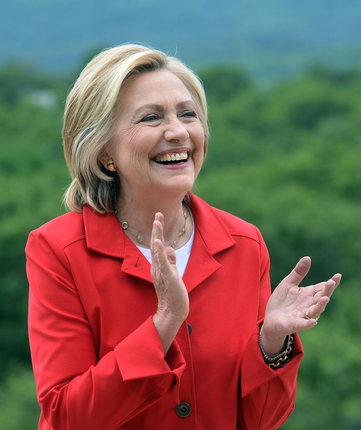 GLEN, NH - JULY 4: Democratic president candidate Hillary Clinton speaks at an organizing event at a private home July 4, 201