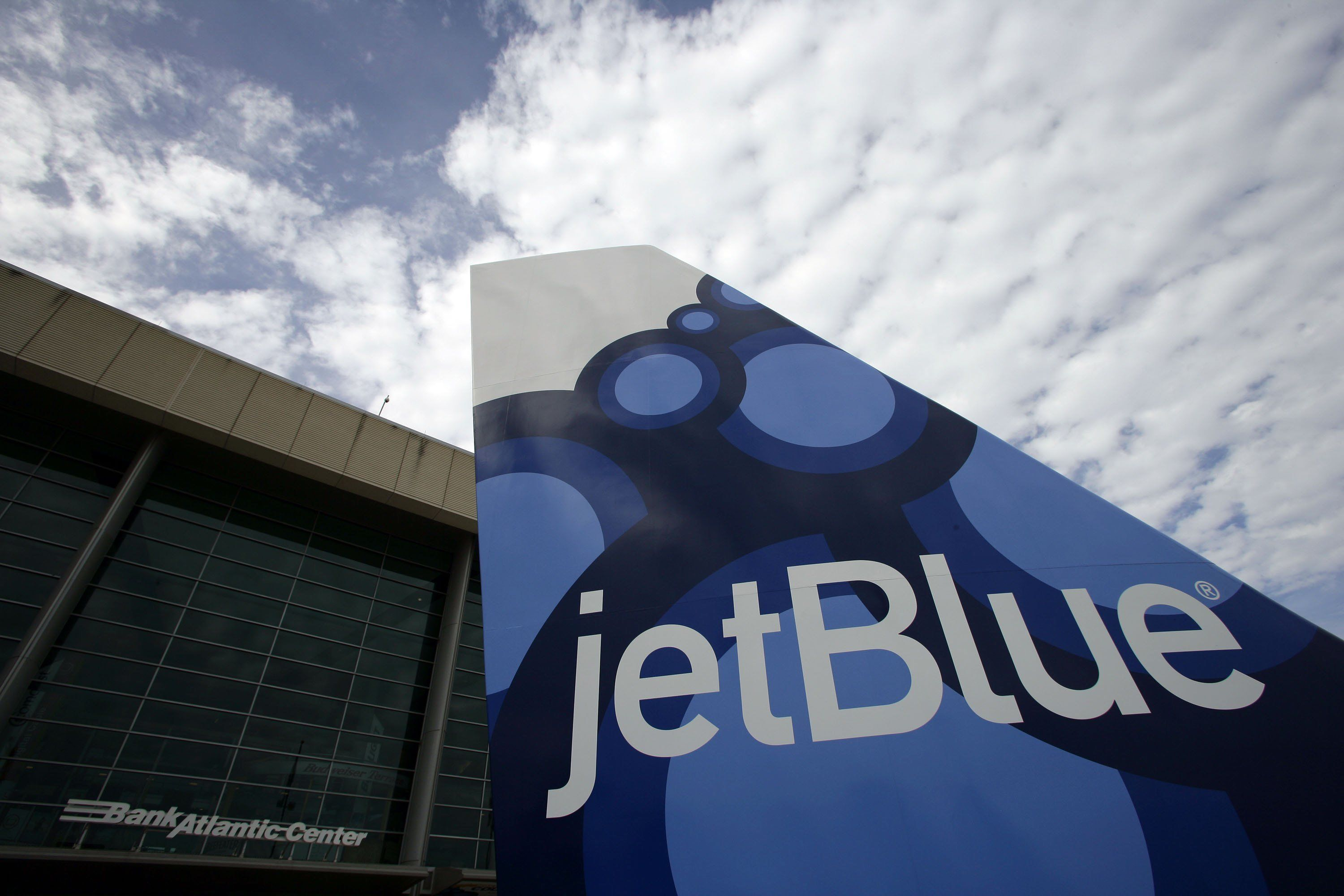 SUNRISE, FL - MARCH 16: JetBlue Airways partners with Florida Panthers and unveils a tail fin prior to the start of the game against the Washington Capitals at the BankAtlantic Center on March 16, 2010 in Sunrise, Florida. (Photo by Eliot J. Schechter/NHLI via Getty Images)