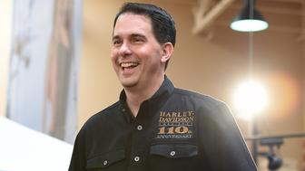 LAS VEGAS, NV - JULY 14:  U.S. presidential candidate and Wisconsin Gov. Scott Walker speaks at Red Rock Harley-Davidson on July 14, 2015 in Las Vegas, Nevada. Walker launched his campaign on July 13, joining 14 other Republican candidates for the 2016 presidential race.  (Photo by Ethan Miller/Getty Images)