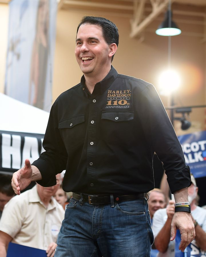 LAS VEGAS, NV - JULY 14:  U.S. presidential candidate and Wisconsin Gov. Scott Walker speaks at Red Rock Harley-Davidson on J