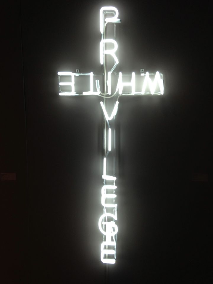 """Just Sayin'"" is a 2014 neon sculpture by Ti-Rock Moore and a clever commentary on the notion of white privilege â€"