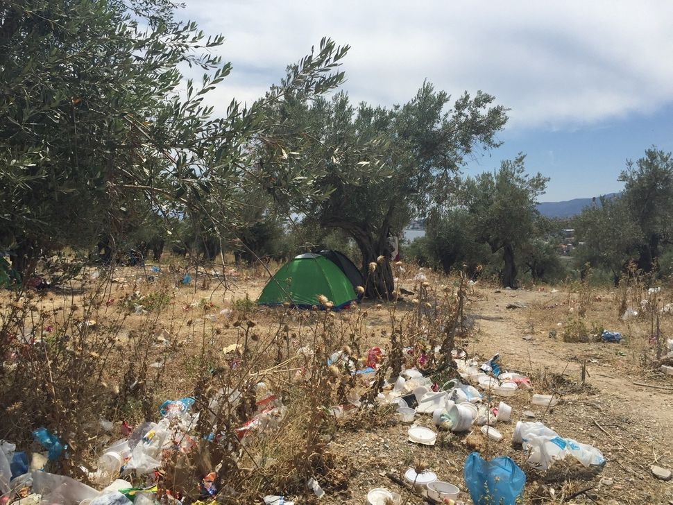 Uncontrolled garbage is strewn throughout Kara Tepe camp in Lesbos, Greece.