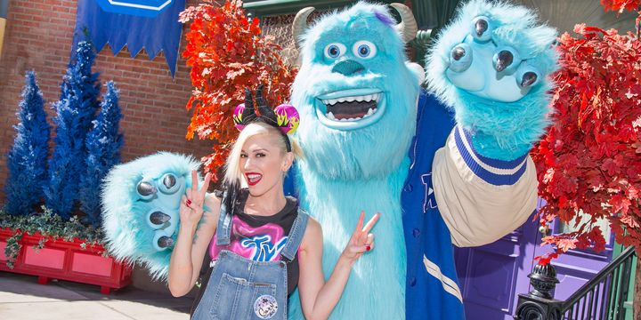 ANAHEIM, CA - OCTOBER 06:  In this handout photo provided by Disney Parks, Gwen Stefani meets Sulley from the Disney-Pixar films 'Monsters, Inc.' and 'Monsters University' at Disney California Adventure park October 6, 2014 in Anaheim, California. The 'Halloween Time' celebration at the Disneyland Resort, which features special attractions, decor and entertainment, continues through October 31, 2014.  (Photo by Paul Hiffmeyer/Disney Parks via Getty Images)