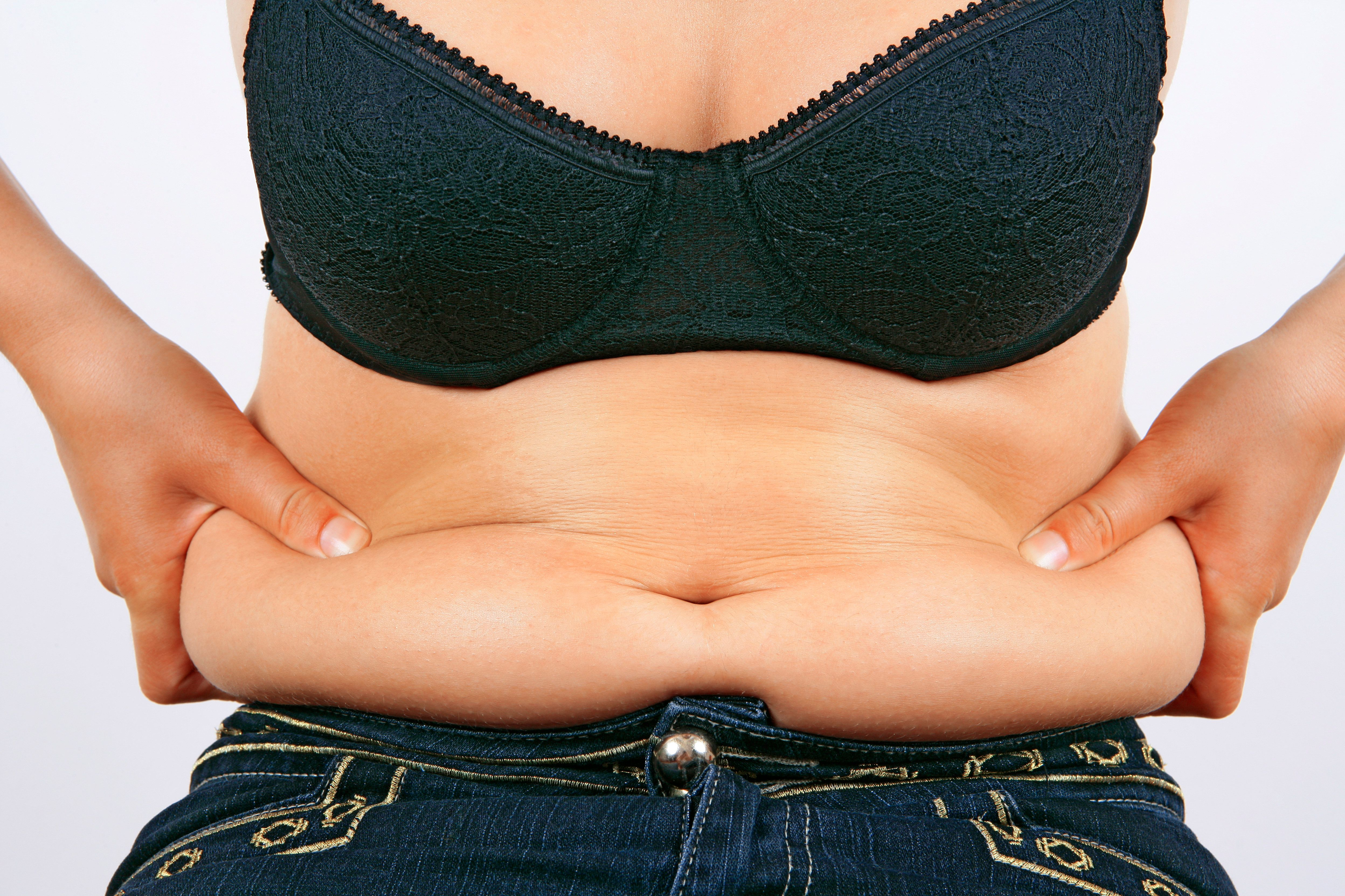 Mature women with flabby belly speaking, opinion