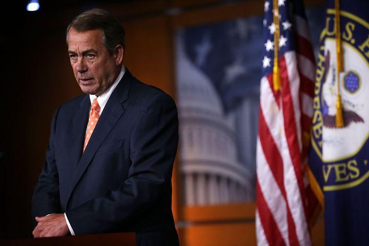 WASHINGTON, DC - JULY 16:  U.S. Speaker of the House Rep. John Boehner (R-OH) speaks to members of the media during his weekl