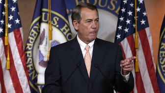 WASHINGTON, DC - JULY 09:  U.S. Speaker of the House John Boehner (R-OH) answers questions during his weekly press conference at the U.S. Capitol July 9, 2015 in Washington, DC. Boehner addressed multiple topics including a potential nuclear deal with Iran, the recent controversial comments by Republican presidential candidate Donald Trump, and the issue of the Confederate flag during his remarks.  (Photo by Win McNamee/Getty Images)