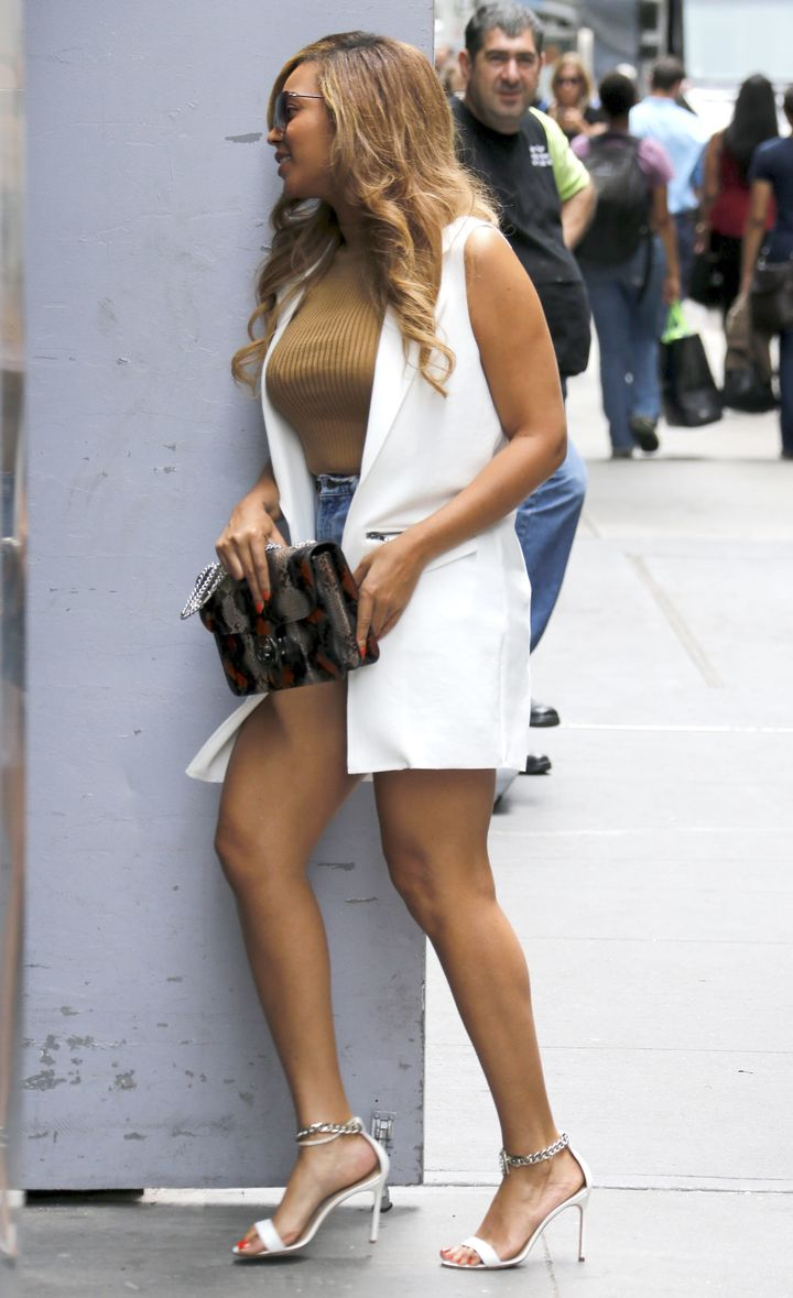 51798822 Singer Beyonce Knowles visits her Midtown office on July 14, 2015 in New York City, New York. According to an article in OK! Magazine, Beyonce is reportedly jealous of Taylor Swift now that she and her husband Jay-Z have been bumped from the top of Forbes power couple list by Taylor and Calvin Harris. FameFlynet, Inc - Beverly Hills, CA, USA - +1 (818) 307-4813 RESTRICTIONS APPLY: USA ONLY