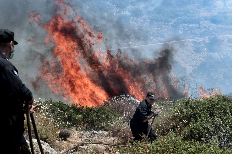 Firefighters try to extinguish a fire near Athens, Greece, on July 17, 2015.