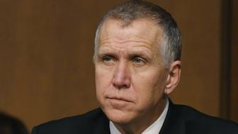 WASHINGTON, DC - JANUARY 21: Sen. Thom Tillis (R-NC), participates in a Senate Armed Services Committee hearing on Capitol Hill, January 21, 2015 in Washington, DC. The committee was hearing testimony from former National Security Advisor's regarding global challenges and United States national security strategy.  (Photo by Mark Wilson/Getty Images)
