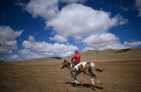 Purevsurengiin Togtokhsuren riding his horse during his training session.