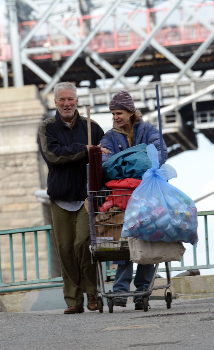 Richard Gere, Kyra Sedgwick filming Owen Moverman's 'Time Out of Mind' on April 23, 2014 in New York City.