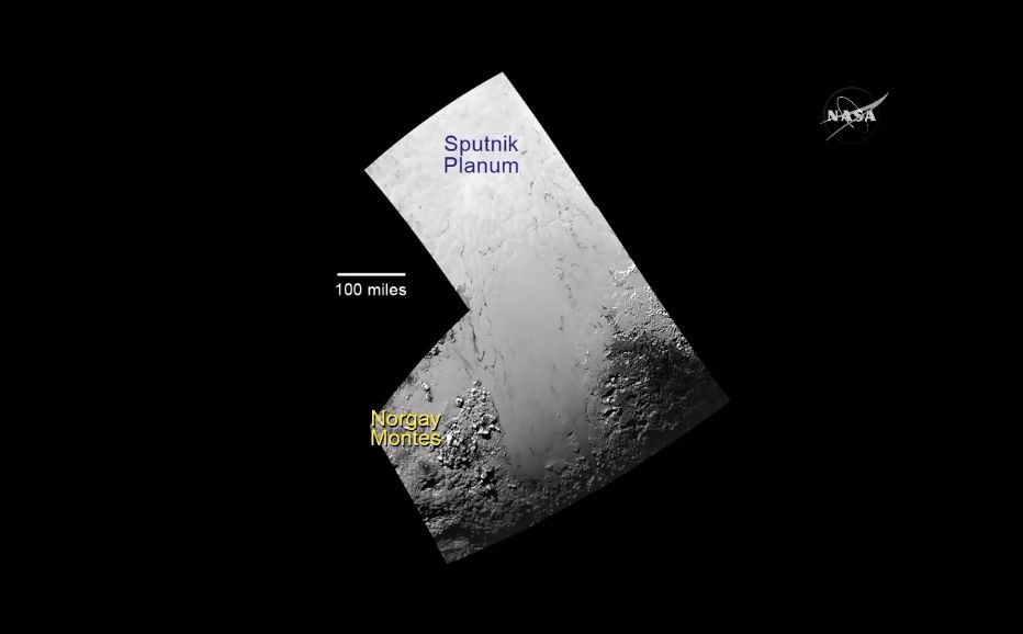 Section of Pluto'€™s surface showing newly named mountains.