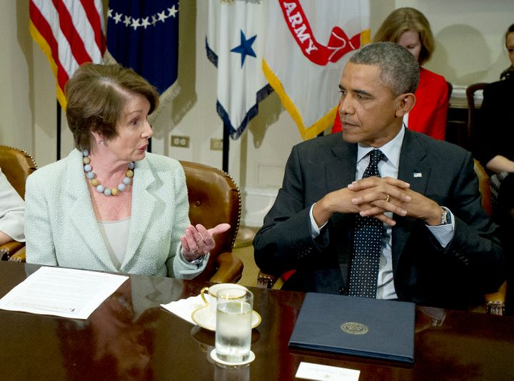 <span>House Minority Leader Nancy Pelosi (D-Calif.), seen here meeting with&nbsp;President Barack Obama, has differed with th