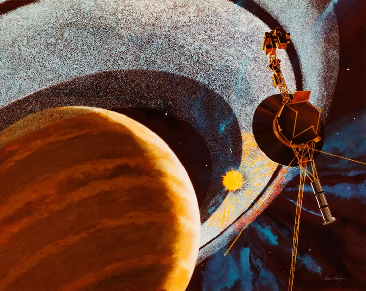 An artist's impression of NASA's Voyager 1 space probe passing behind the rings of Saturn, using cameras and radio equipment