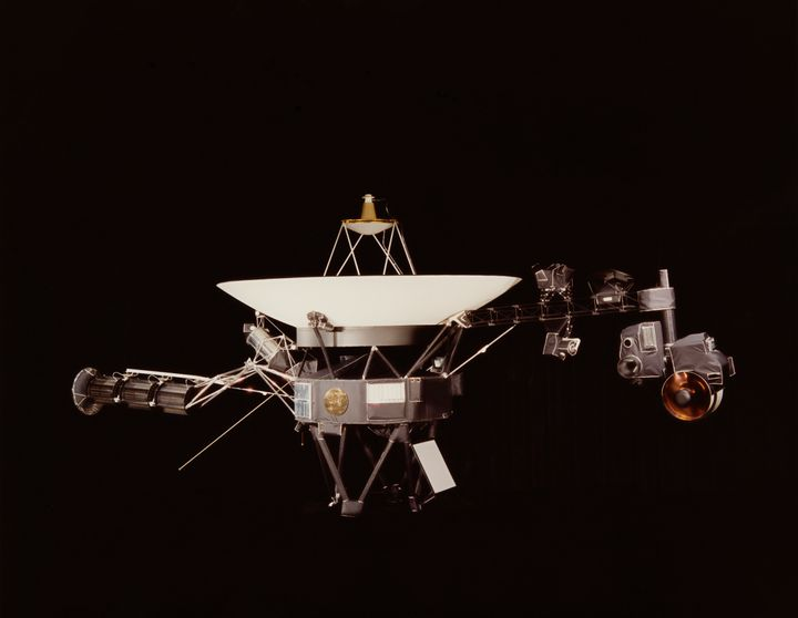 A NASA image of one of the Voyager space probes. Voyager 1 and its identical sister craft Voyager 2 were launched in 1977 to