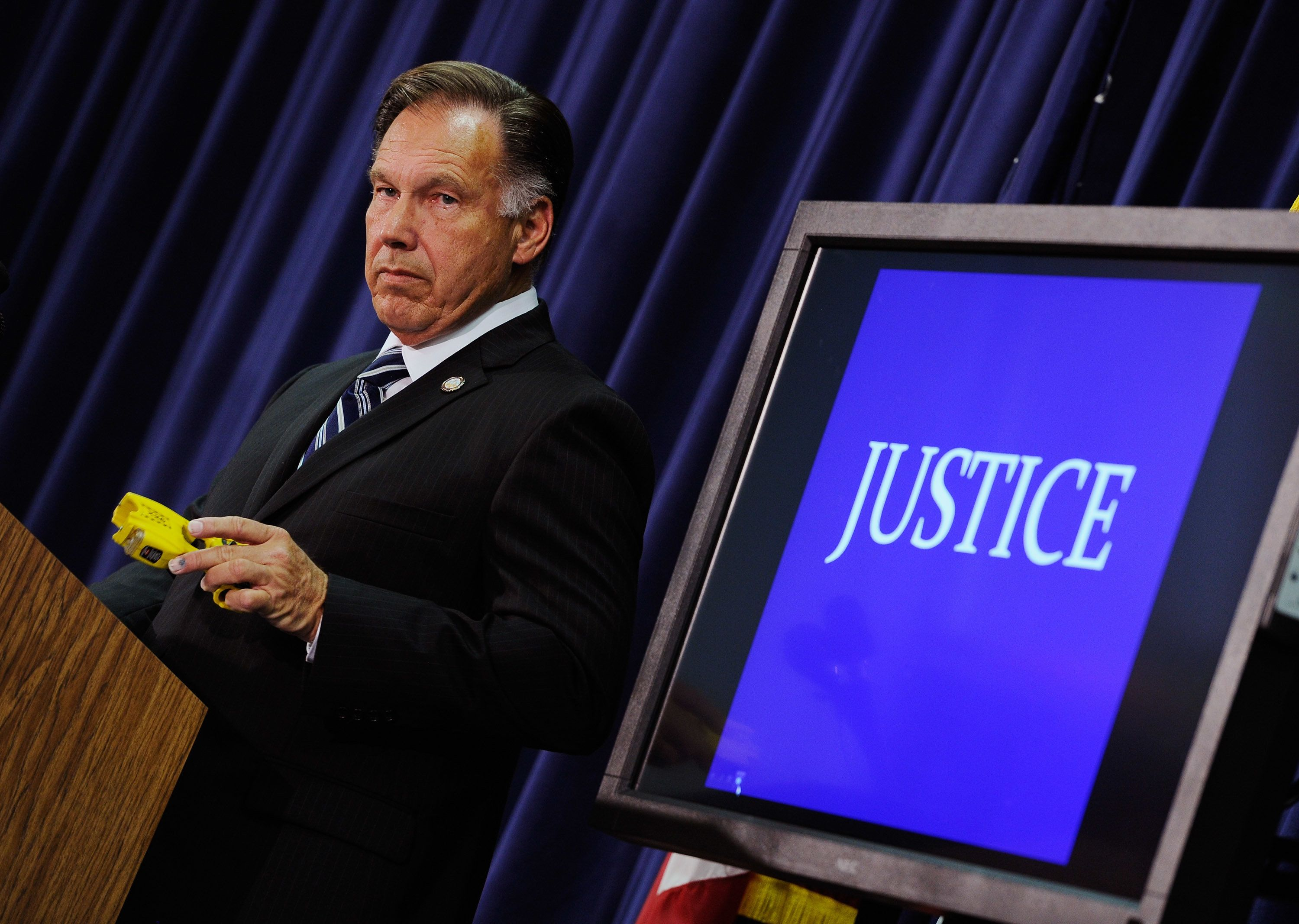 Orange County District Attorney Tony Rackauckas is seenduring a news conference on Sept. 21, 2011, in Santa Ana, Califo