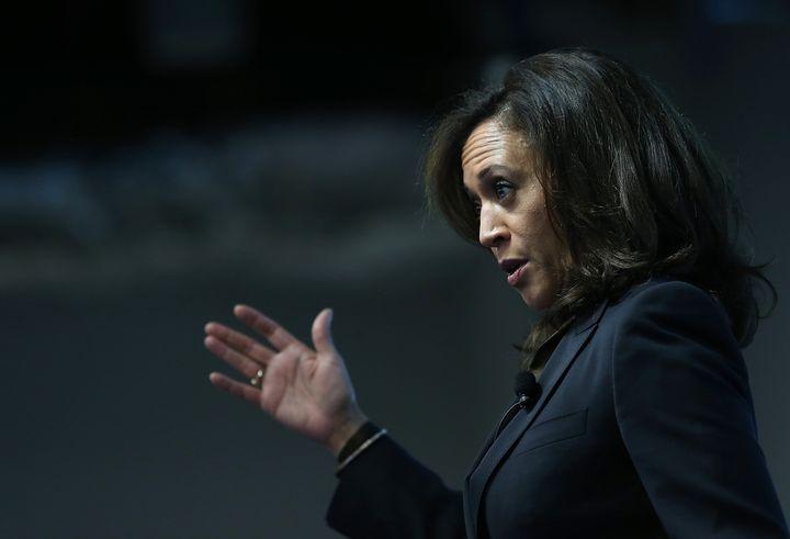 MENLO PARK, CA - FEBRUARY 10:  California Attorney General Kamala Harris delivers a keynote address during a Safer Internet D