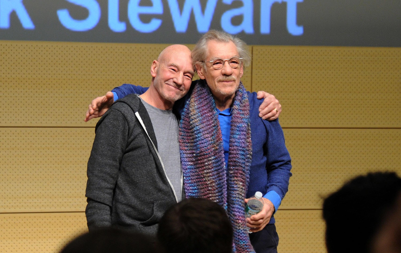 NEW YORK, NY - JANUARY 28: Patrick Stewart and Ian McKellen speak at John L. Tishman Auditorium at University Center on January 28, 2014 in New York City.  (Photo by Ilya S. Savenok/Getty Images for SAG Foundation)