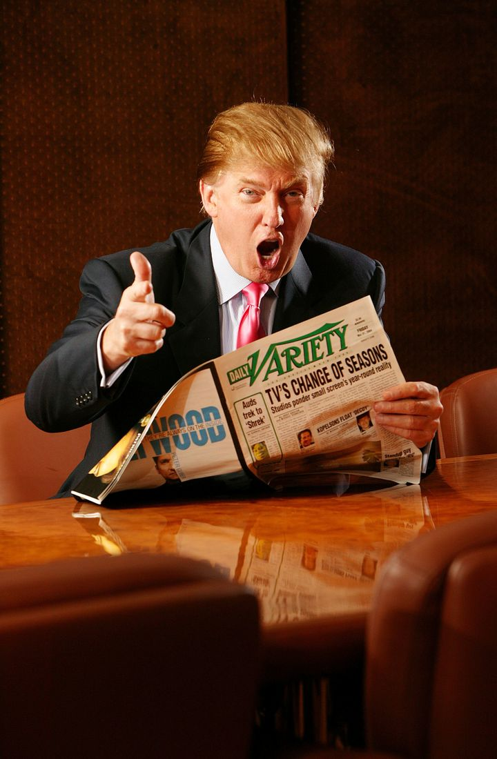 Donald Trump photographed in his boardroom at Trump Tower on 5th Avenue on June 17, 2004 in New York City.