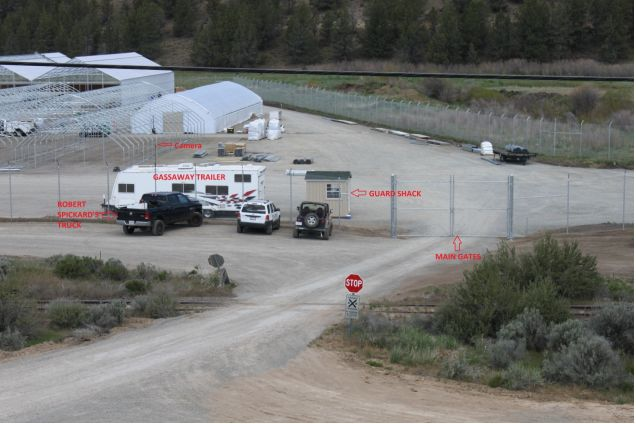 A photo from the U.S. Attorney's Office's search warrant details the main gate and guard shack of the XL Ranch.
