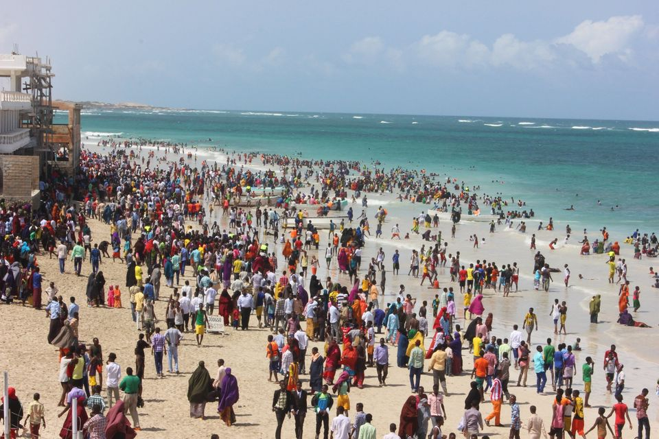 Everyone's at Liddo Beach today for Eid. Here's a bird's eye view.