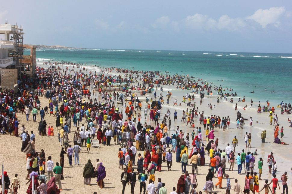 <span><span>Everyone's at Liddo Beach today for Eid.</span><span>&nbsp;Here's a bird's eye view.</span></span>