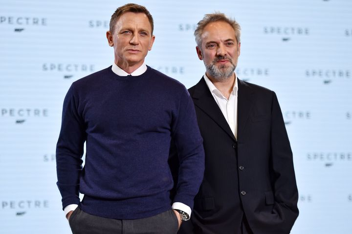 "Daniel Craig and Sam Mendes at a photo call for ""Spectre."""