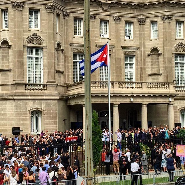 The Cuban flag is raised in front of the Cuban Embassy in Washington, D.C., on July 20, 2015.