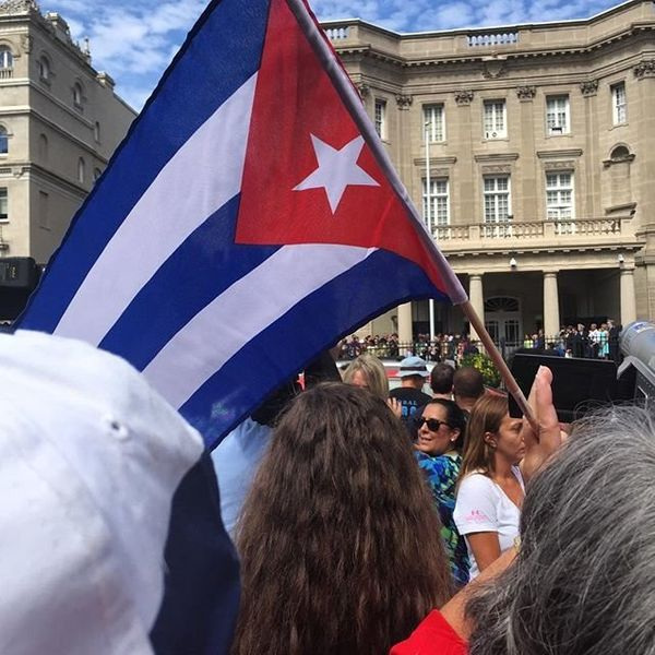 Crowds gather before the Cuban Embassy opens for the first time in 54 years in Washington, D.C.