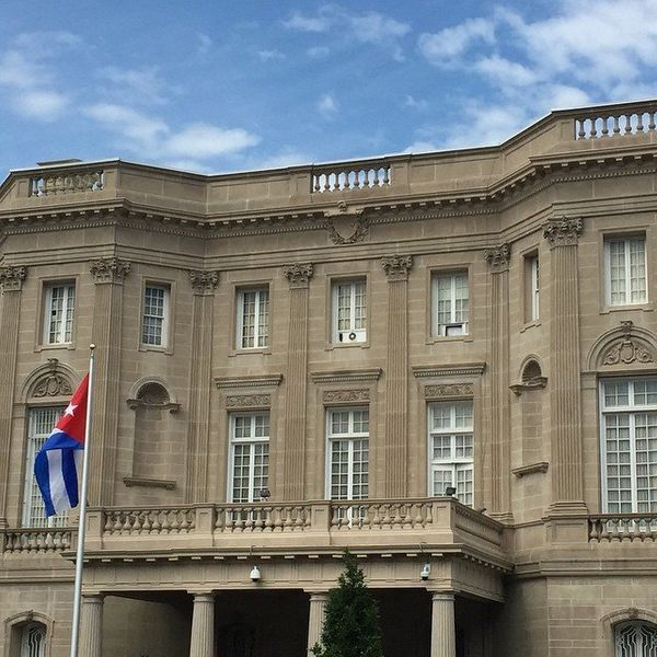 The Cuban flag flies in front of the Cuban Embassy in Washington, D.C., on July 20, 2015.