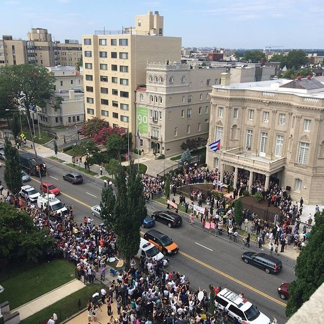 Crowds outside the Cuban Embassy after opening for the first time in 54 years on July 20, 2015.